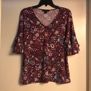Trendy Purple and Floral Blouse Size L